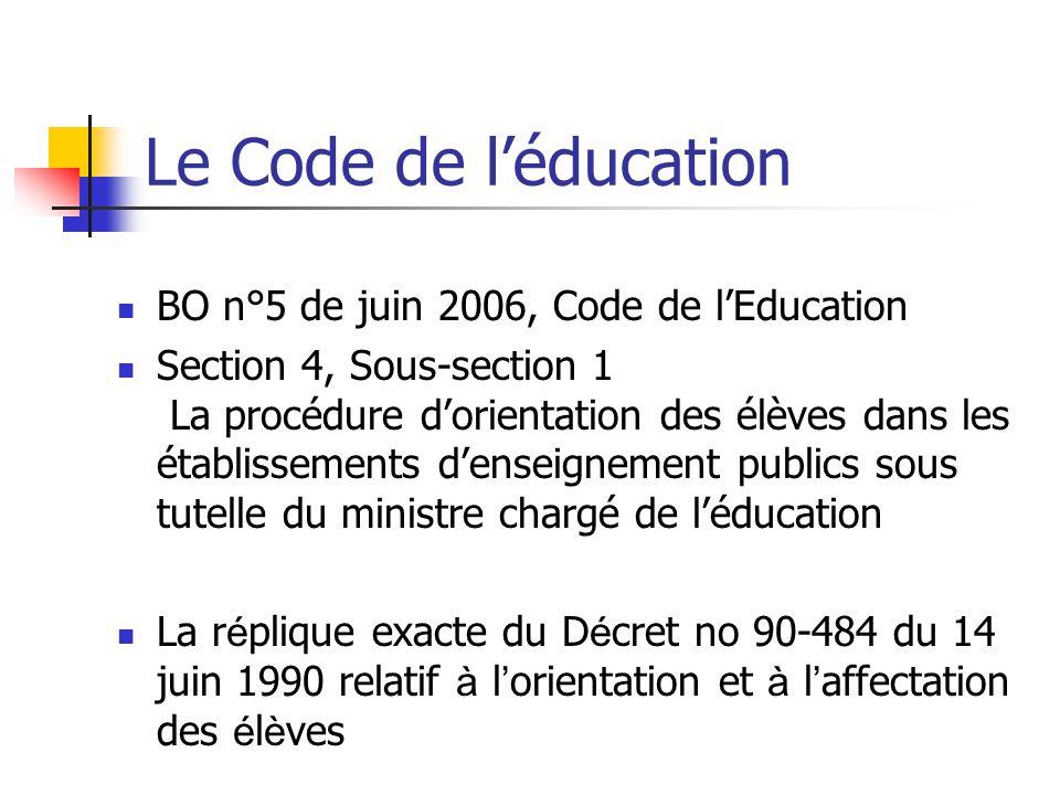 Le Code de l'éducation BO n°5 de juin 2006, Code de l'Education Section 4, Sous-section 1 La procédure d'orientation des élèves dans les établissements d'enseignement publics sous tutelle du ministre chargé de l'éducation La r é plique exacte du D é cret no 90-484 du 14 juin 1990 relatif à l ' orientation et à l ' affectation des é l è ves