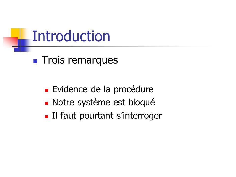 Introduction Trois remarques Evidence de la procédure Notre système est bloqué Il faut pourtant s'interroger