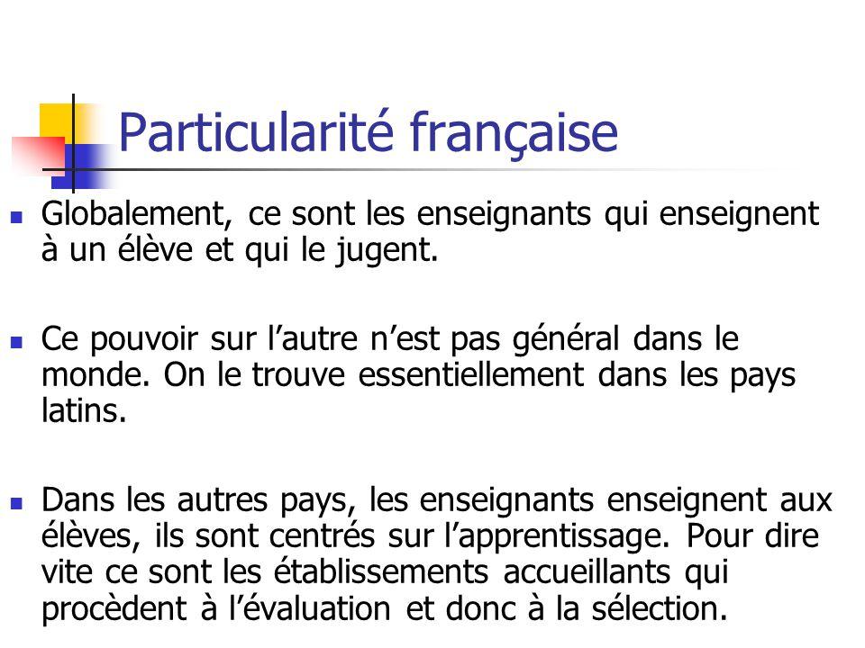 Particularité française Globalement, ce sont les enseignants qui enseignent à un élève et qui le jugent.