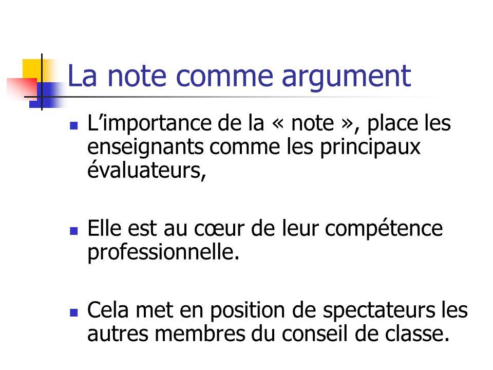 La note comme argument L'importance de la « note », place les enseignants comme les principaux évaluateurs, Elle est au cœur de leur compétence professionnelle.