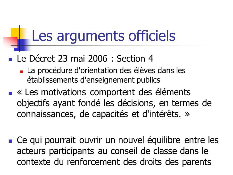Les arguments officiels Le Décret 23 mai 2006 : Section 4 La procédure d orientation des élèves dans les établissements d enseignement publics « Les motivations comportent des éléments objectifs ayant fondé les décisions, en termes de connaissances, de capacités et d intérêts.