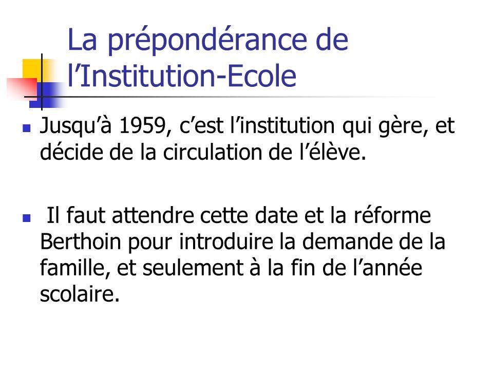 La prépondérance de l'Institution-Ecole Jusqu'à 1959, c'est l'institution qui gère, et décide de la circulation de l'élève.