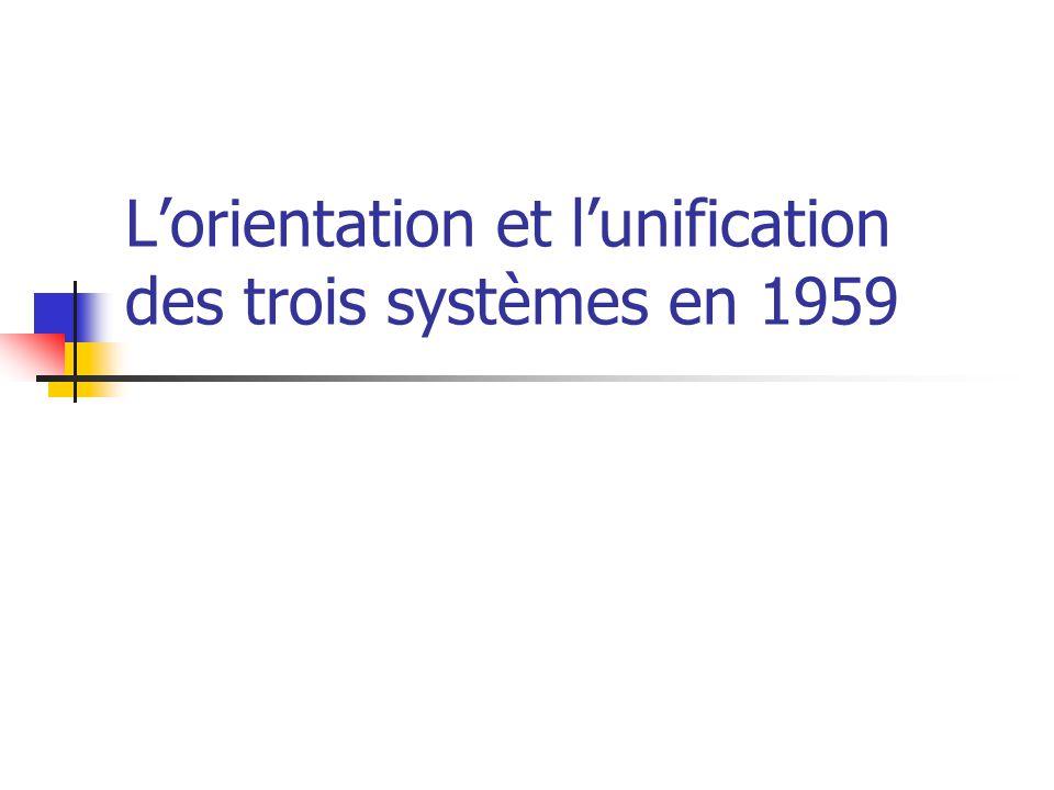 L'orientation et l'unification des trois systèmes en 1959