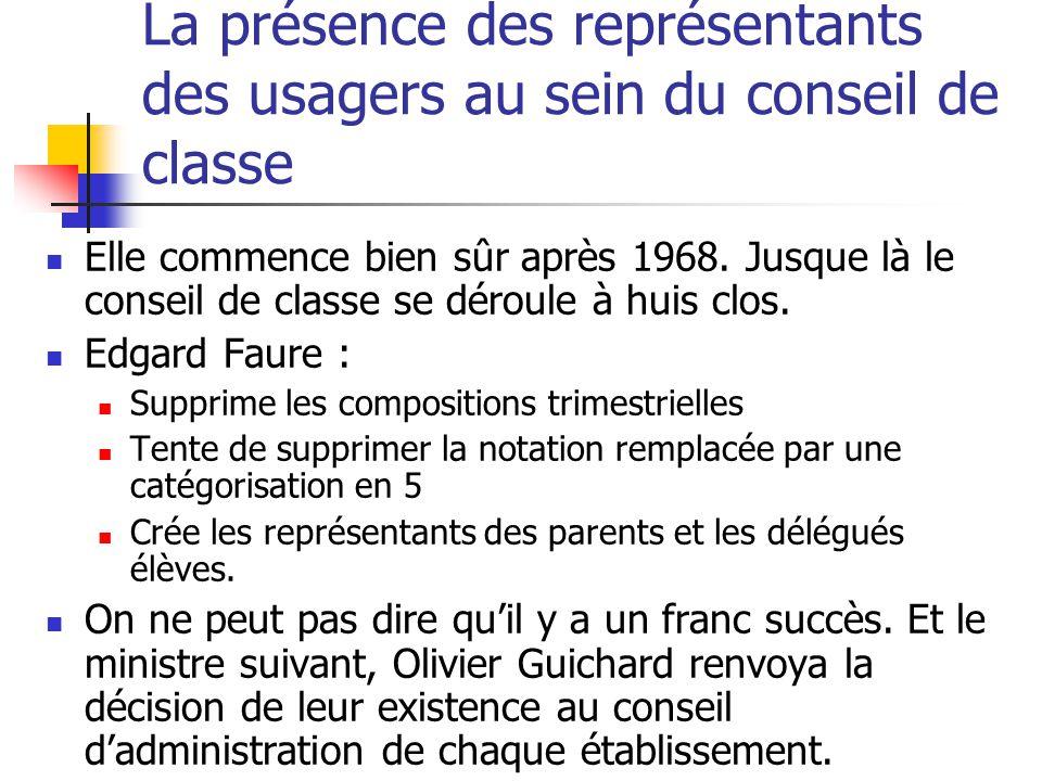 La présence des représentants des usagers au sein du conseil de classe Elle commence bien sûr après 1968.