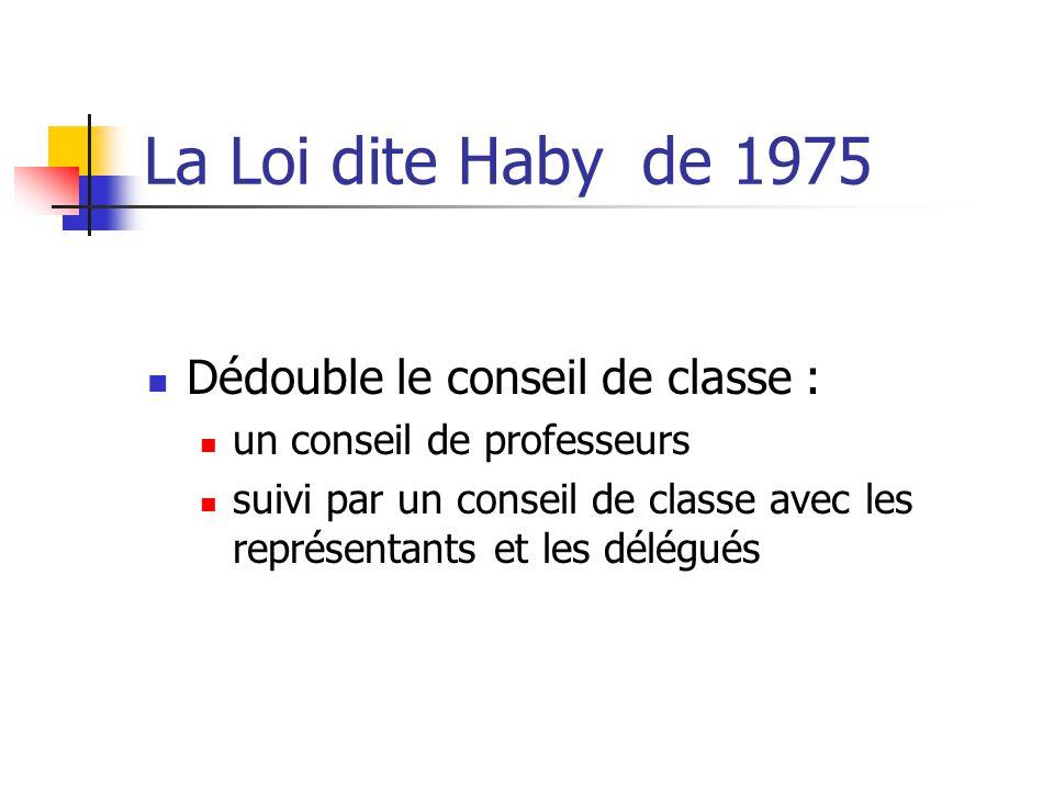 La Loi dite Haby de 1975 Dédouble le conseil de classe : un conseil de professeurs suivi par un conseil de classe avec les représentants et les délégués