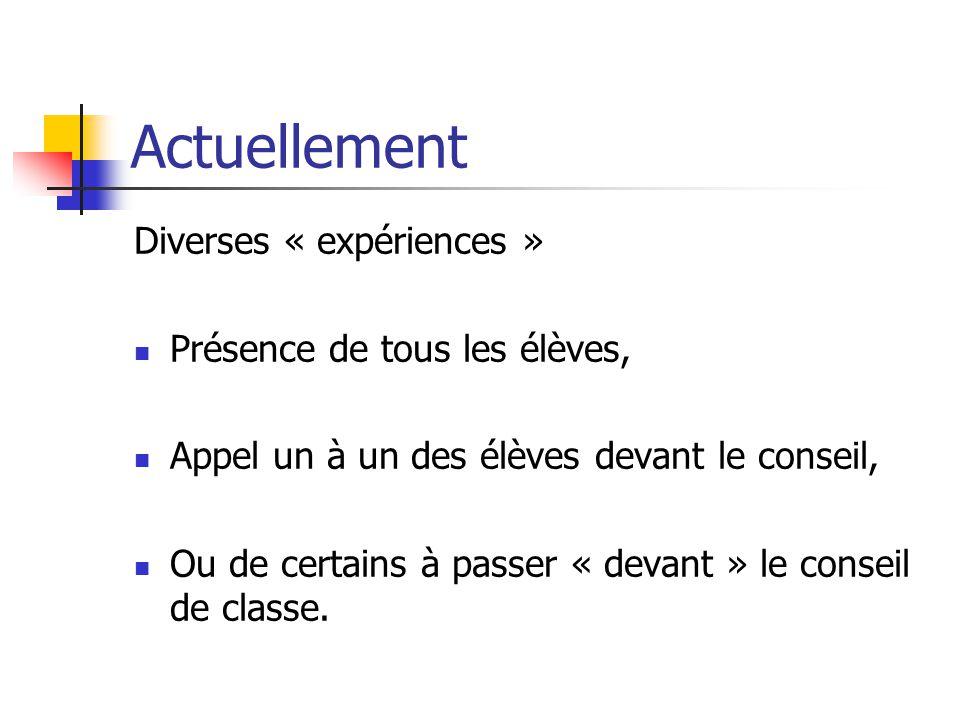 Actuellement Diverses « expériences » Présence de tous les élèves, Appel un à un des élèves devant le conseil, Ou de certains à passer « devant » le conseil de classe.
