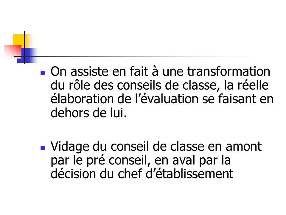 On assiste en fait à une transformation du rôle des conseils de classe, la réelle élaboration de l'évaluation se faisant en dehors de lui.