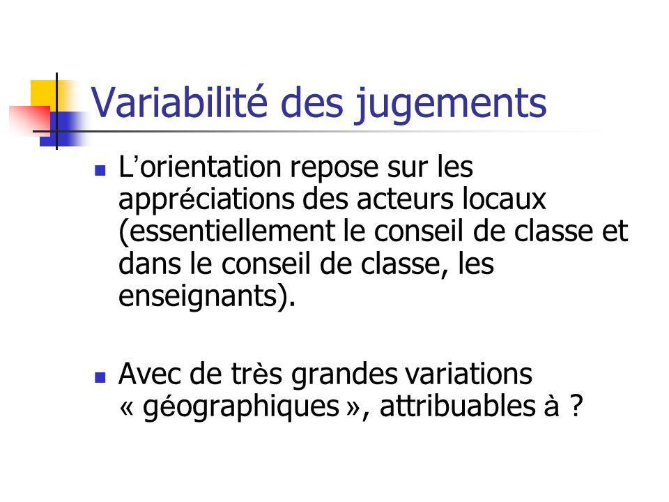 Variabilité des jugements L ' orientation repose sur les appr é ciations des acteurs locaux (essentiellement le conseil de classe et dans le conseil de classe, les enseignants).