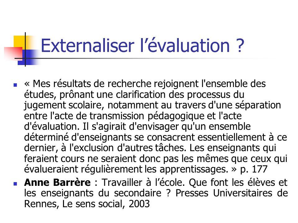 Externaliser l'évaluation .