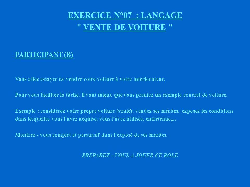 EXERCICE N°07 VENTE DE VOITURE PARTICIPANT (A) Monsieur BENSLIMANE va essayer de vous vendre sa voiture.