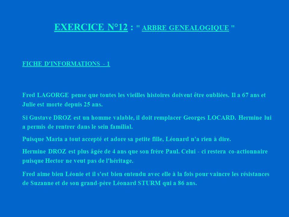EXERCICE N°12 : CONDUITE DE REUNION ARBRE GENEALOGIQUE OJECTIF : Reconstitution par un travail de groupe, d un arbre généalogique.