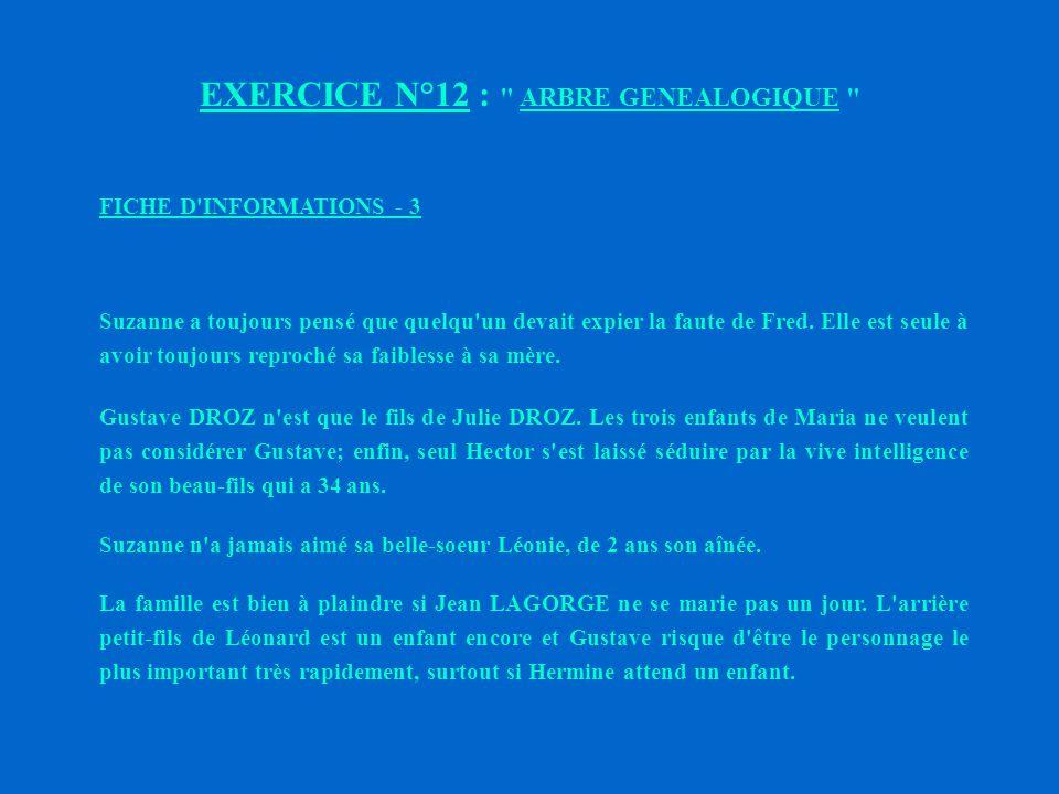 EXERCICE N°12 : ARBRE GENEALOGIQUE FICHE D INFORMATIONS - 2 Léonie sait bien que sa belle-soeur l a toujours jalousée et détestée.