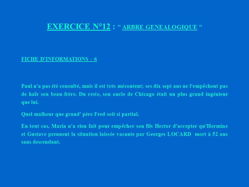 EXERCICE N°12 : ARBRE GENEALOGIQUE FICHE D INFORMATIONS - 5 Léonard STURM, qui est toujours vivant, n a jamais admis la présence dans la famille de Gustave DROZ.