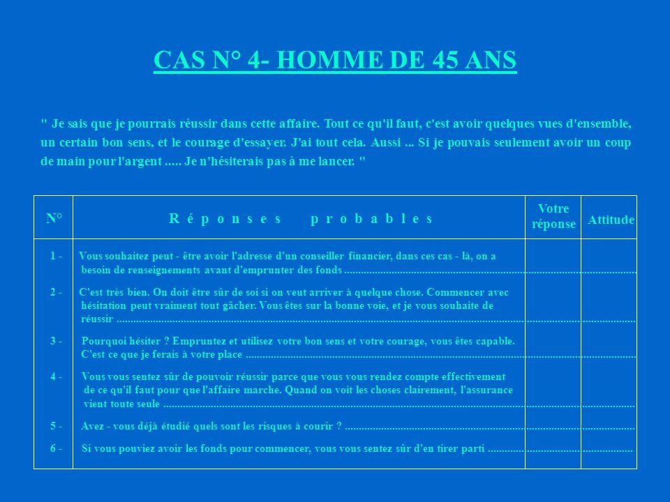 CAS N°3 - HOMME DE 47 ANS N°R é p o n s e s p r o b a b l e s Votre réponse Attitude je me sens vraiment en mauvaise forme.