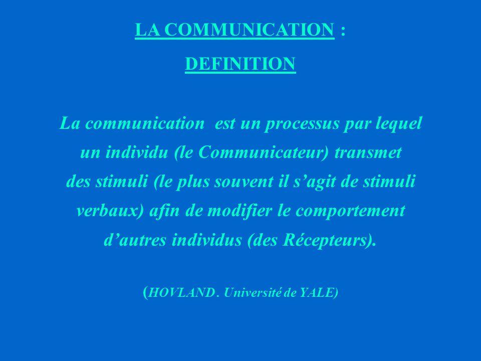 LA COMMUNICATION : DEFINITION Elle désigne quelque chose qui se déplace entre deux points caractéristiques de l'espace et suppose de ce fait la perméabilité des démarcations.