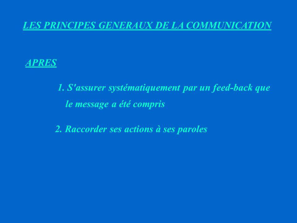 LES PRINCIPES GENERAUX DE LA COMMUNICATION PENDANT 1.