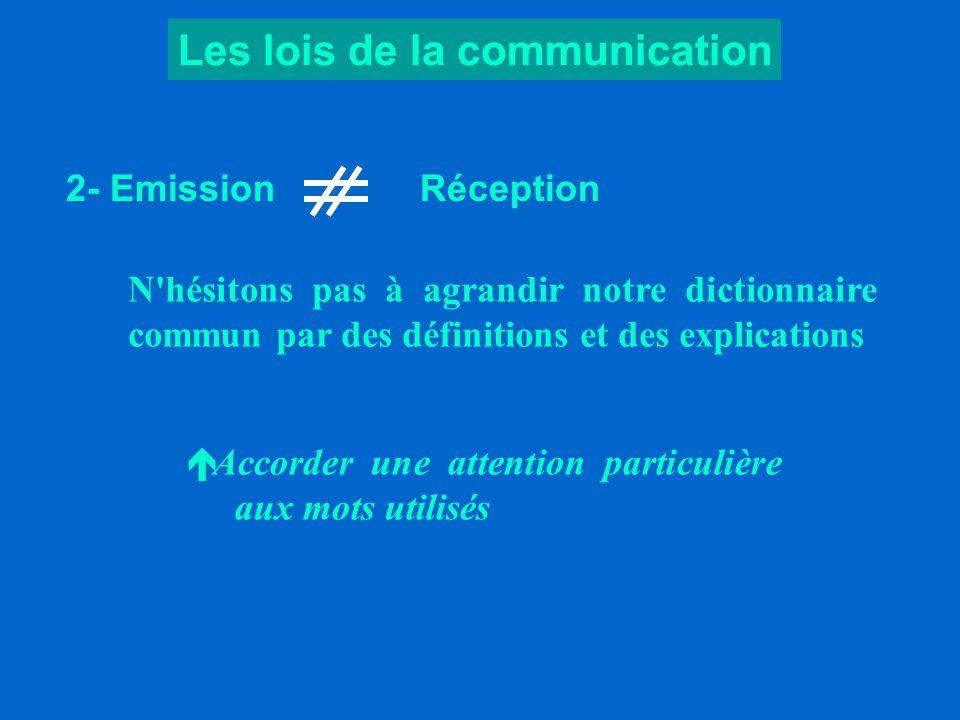 Les lois de la communication 1- Les cinq premières minutes Avec le silence préalable , nous valorisons l auditoire et nous nous donnons les moyens de réussir le premier contact.