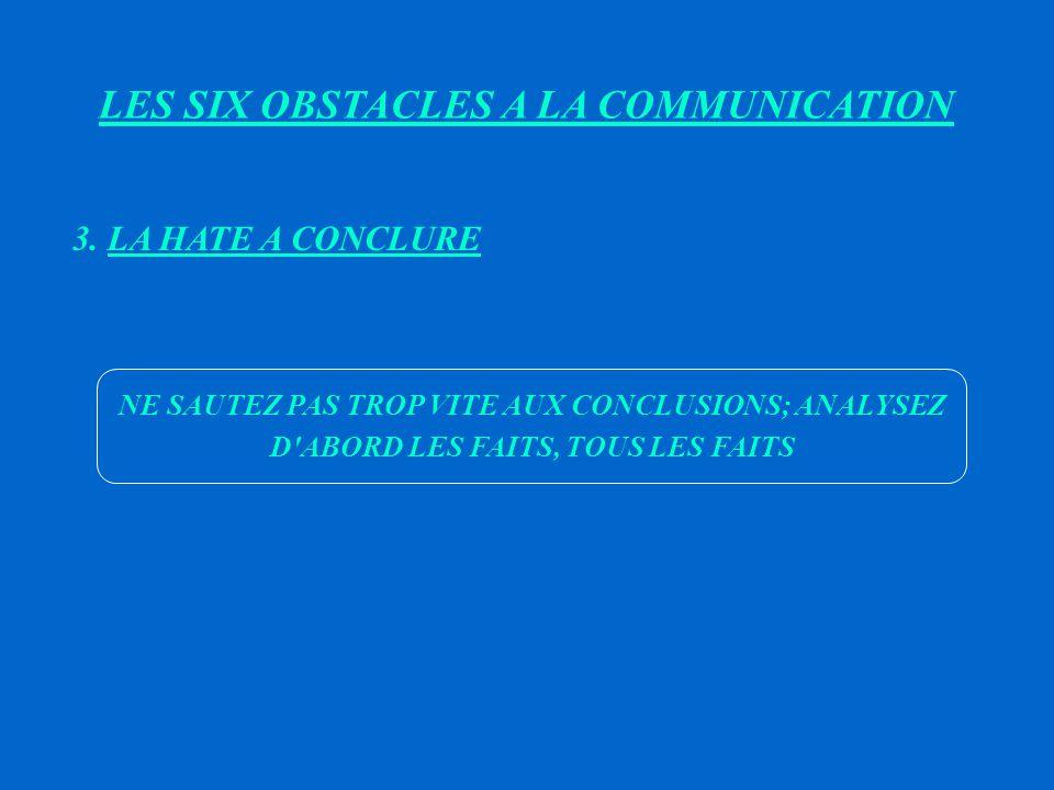 LES SIX OBSTACLES A LA COMMUNICATION 2.