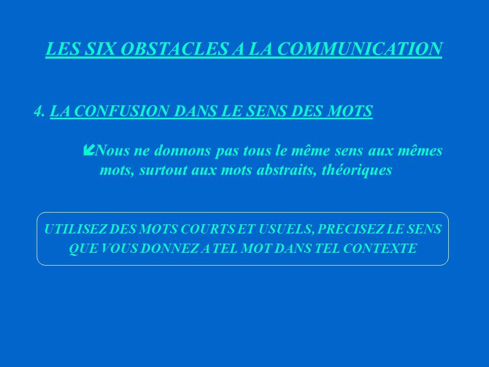 LES SIX OBSTACLES A LA COMMUNICATION 3.