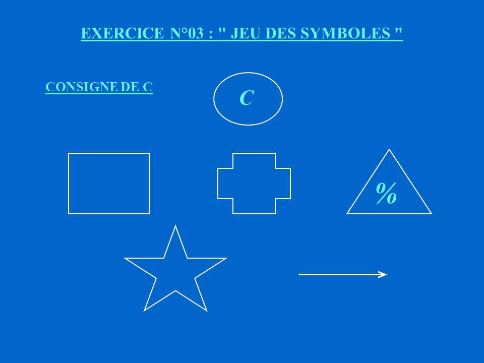 EXERCICE N°03 : JEU DES SYMBOLES B % CONSIGNE DE B