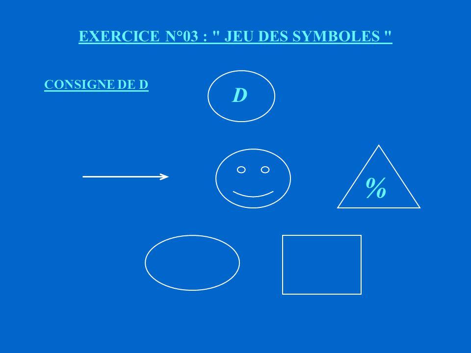 EXERCICE N°03 : JEU DES SYMBOLES C % CONSIGNE DE C