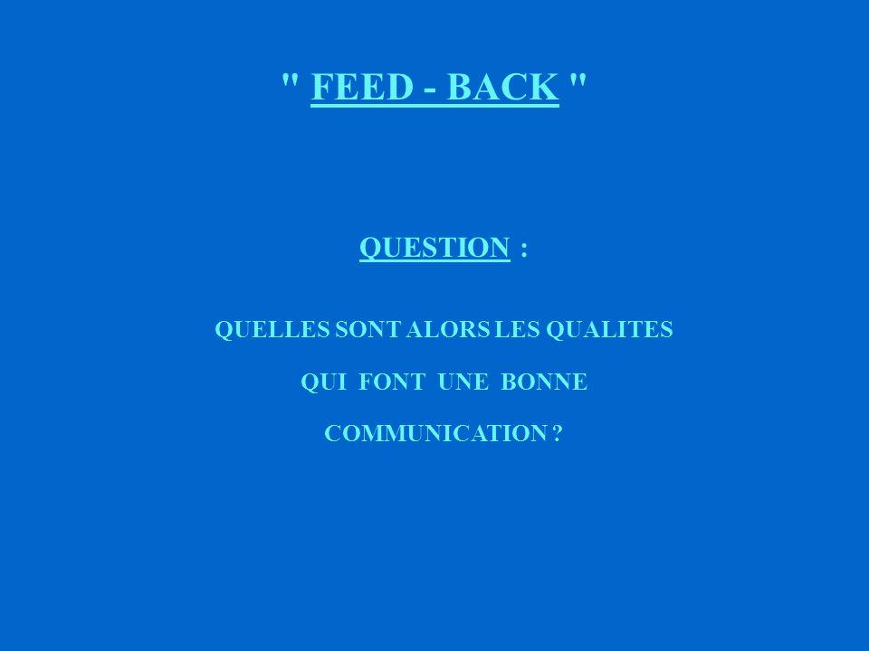 FEED - BACK QUESTION : EST - IL SUFFISANT QU UN MESSAGE SOIT EMIS ET RECEPTIONNE POUR QU IL Y AIT COMMUNICATION ?