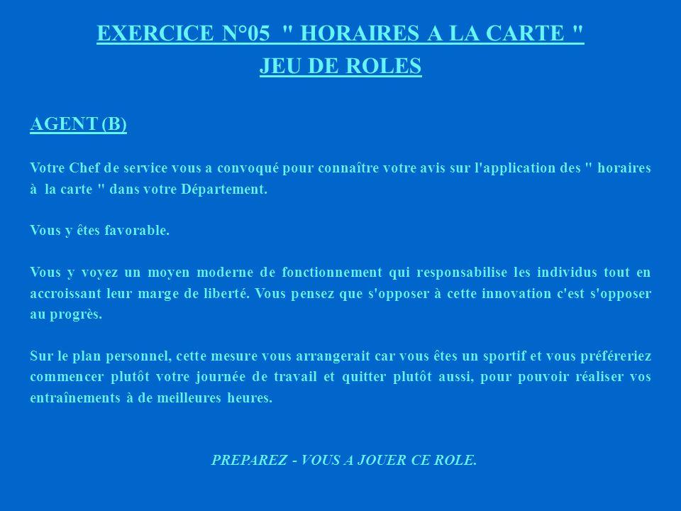 EXERCICE N°05 HORAIRES A LA CARTE JEU DE ROLES AGENT (A) Votre Chef de service vous a convoqué pour connaître votre avis sur l application des horaires à la carte dans votre Département.