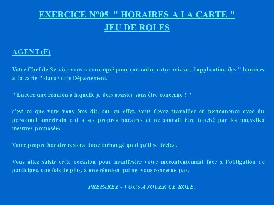 EXERCICE N°05 HORAIRES A LA CARTE JEU DE ROLES AGENT (E) Votre Chef de service vous a convoqué pour connaître votre avis sur l application des horaires à la carte dans votre Département.