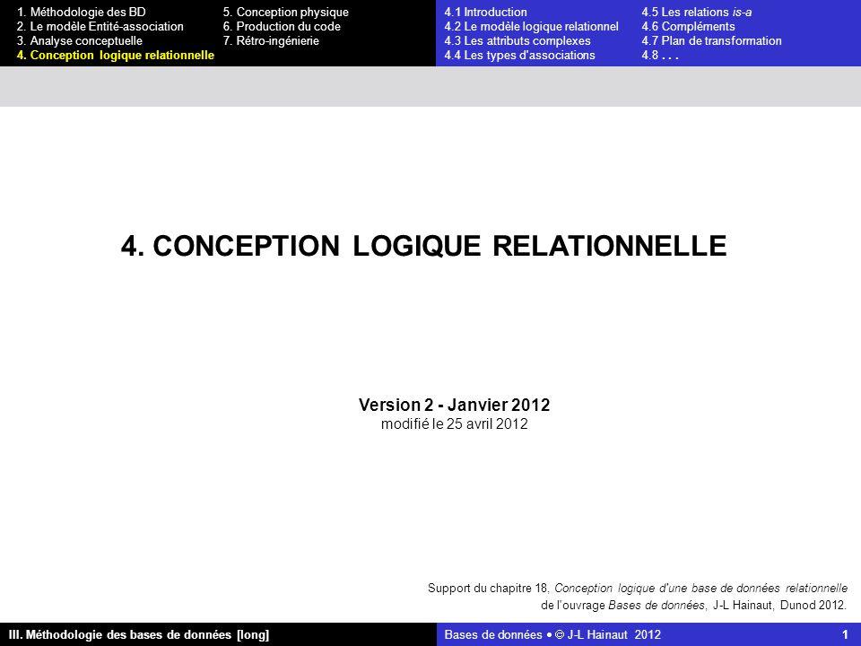 Bases de données   J-L Hainaut 2012 1 III. Méthodologie des bases de données [long] 1.