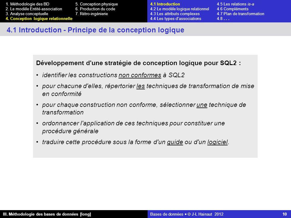 Bases de données   J-L Hainaut 2012 10 III. Méthodologie des bases de données [long] 1.