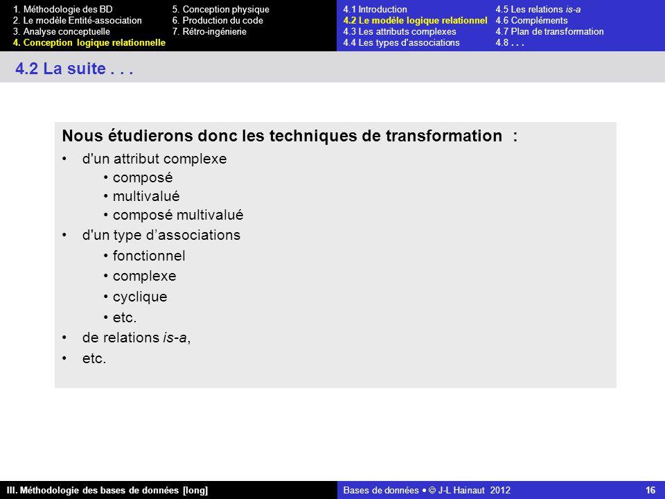 Bases de données   J-L Hainaut 2012 16 III. Méthodologie des bases de données [long] 1.