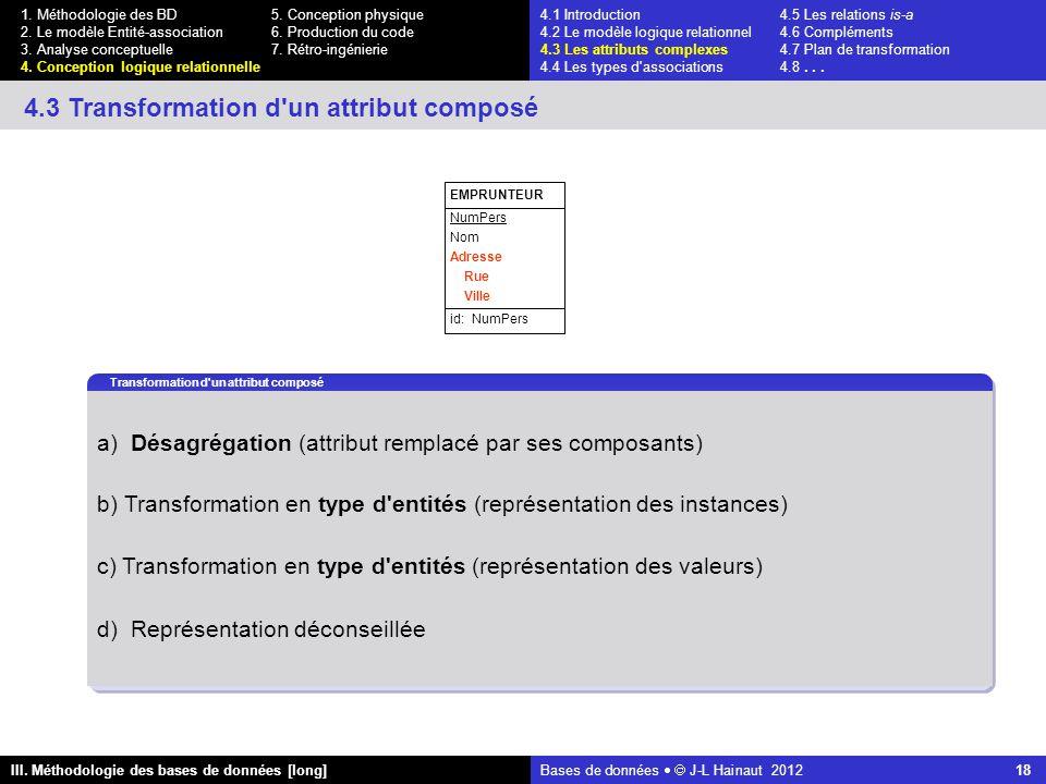 Bases de données   J-L Hainaut 2012 18 III. Méthodologie des bases de données [long] 1.