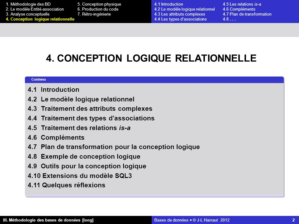 Bases de données   J-L Hainaut 2012 2 III. Méthodologie des bases de données [long] 1.