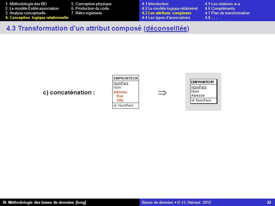 Bases de données   J-L Hainaut 2012 22 III. Méthodologie des bases de données [long] 1.