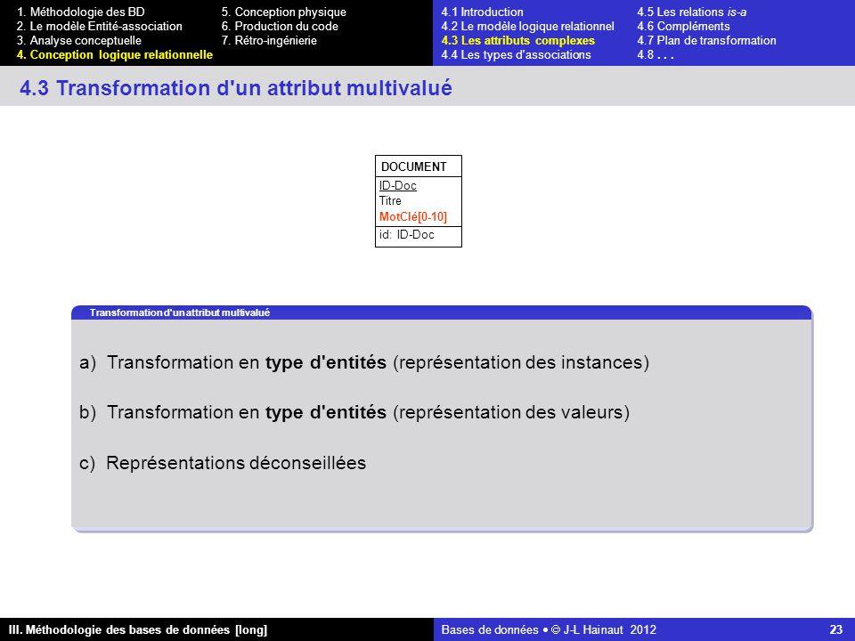 Bases de données   J-L Hainaut 2012 23 III. Méthodologie des bases de données [long] 1.
