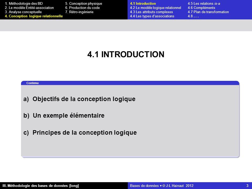 Bases de données   J-L Hainaut 2012 3 III. Méthodologie des bases de données [long] 1.