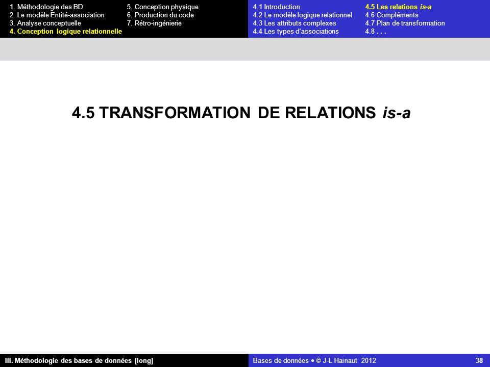 Bases de données   J-L Hainaut 2012 38 III. Méthodologie des bases de données [long] 1.