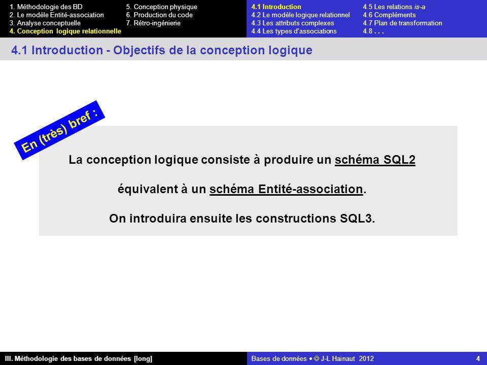 Bases de données   J-L Hainaut 2012 4 III. Méthodologie des bases de données [long] 1.