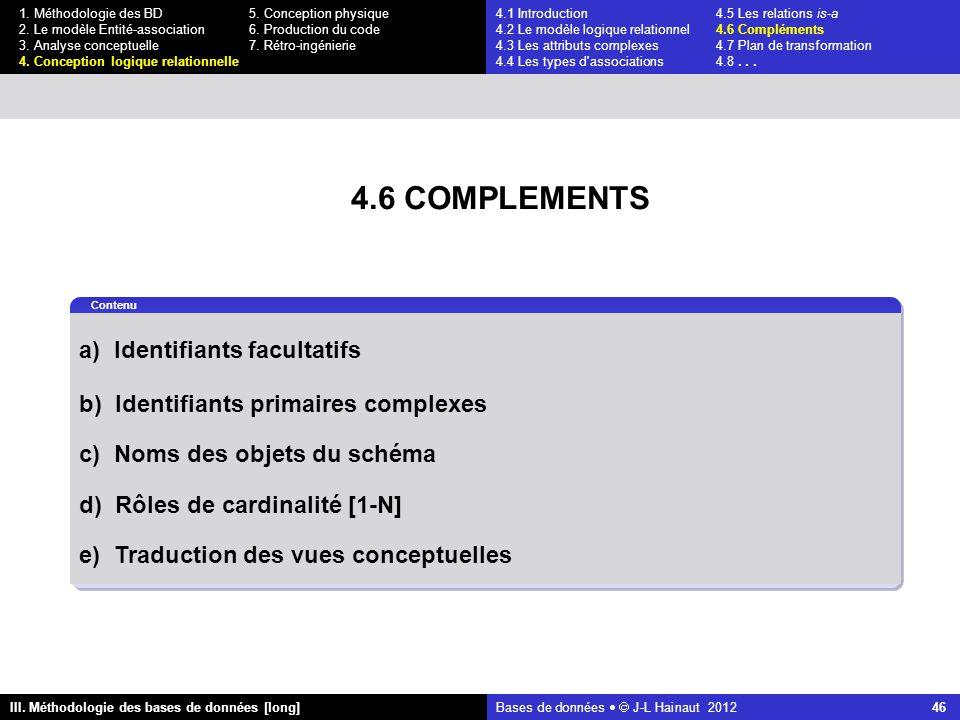 Bases de données   J-L Hainaut 2012 46 III. Méthodologie des bases de données [long] 1.
