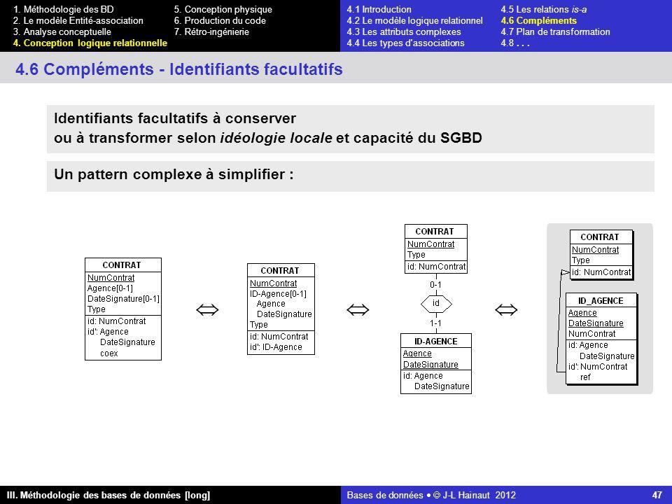 Bases de données   J-L Hainaut 2012 47 III. Méthodologie des bases de données [long] 1.