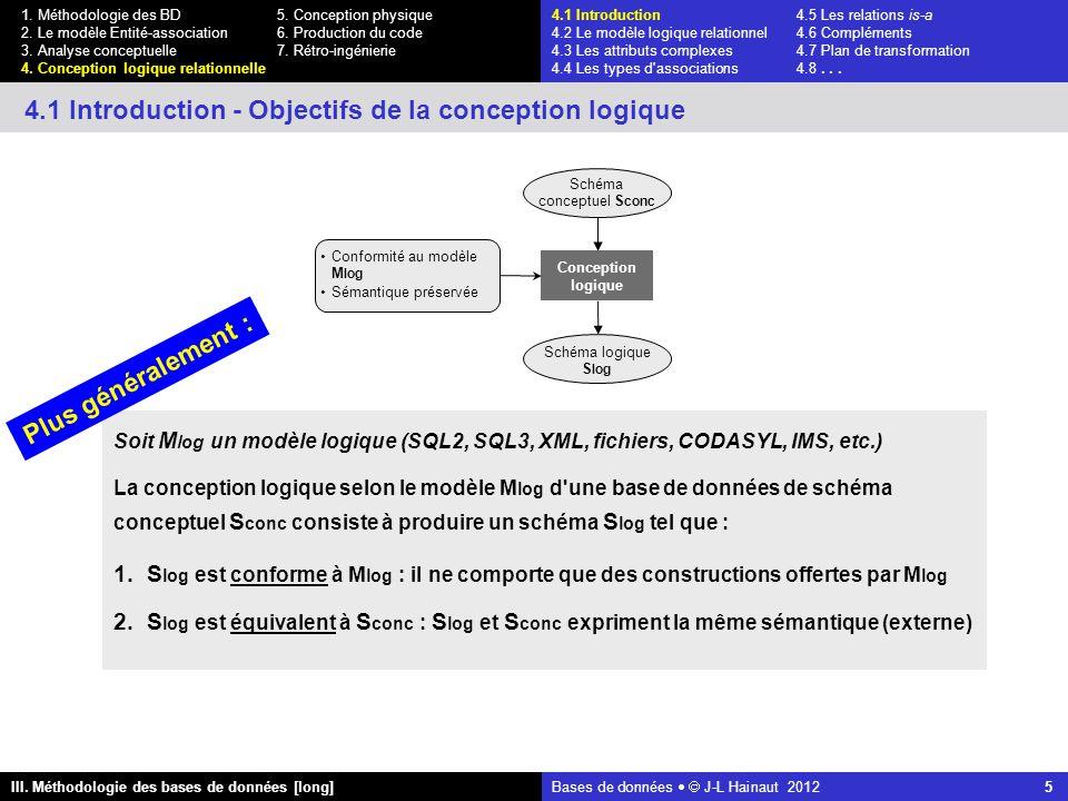 Bases de données   J-L Hainaut 2012 5 III. Méthodologie des bases de données [long] 1.