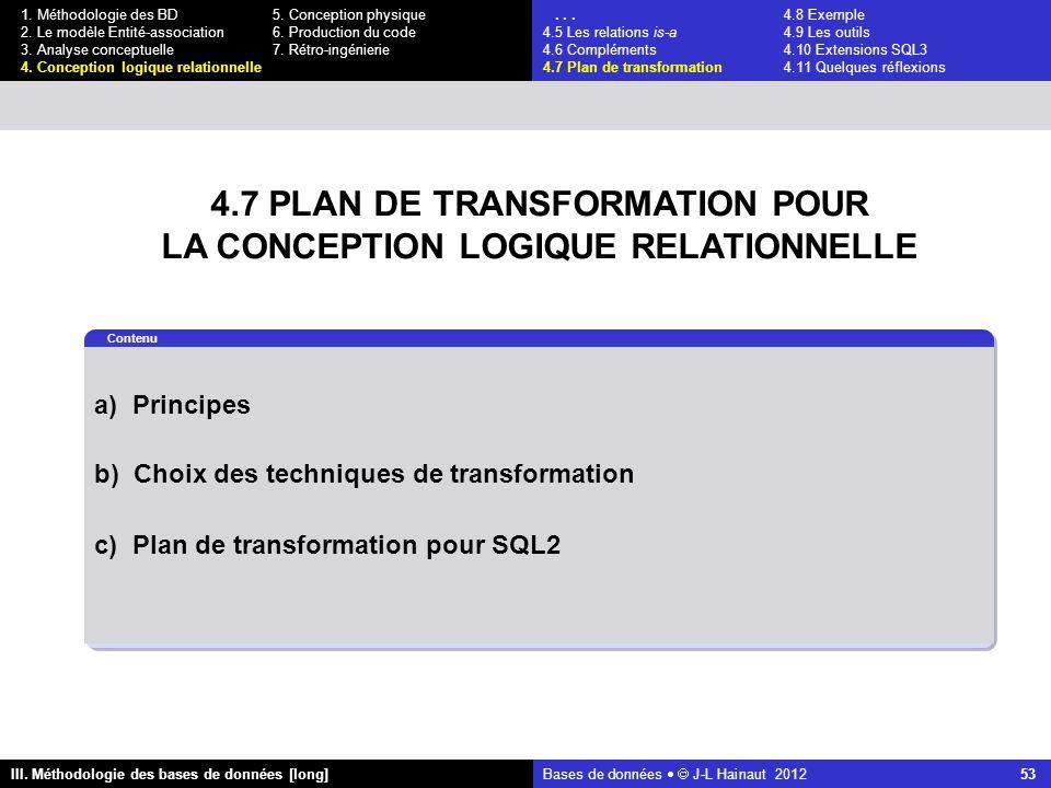 Bases de données   J-L Hainaut 2012 53 III. Méthodologie des bases de données [long] 1.