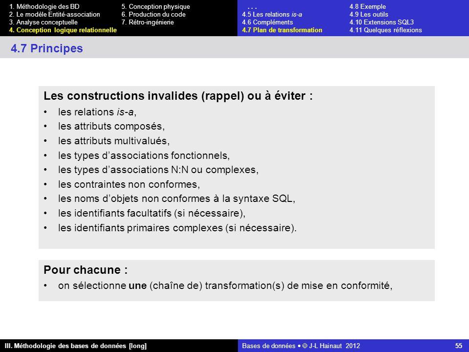 Bases de données   J-L Hainaut 2012 55 III. Méthodologie des bases de données [long] 1.