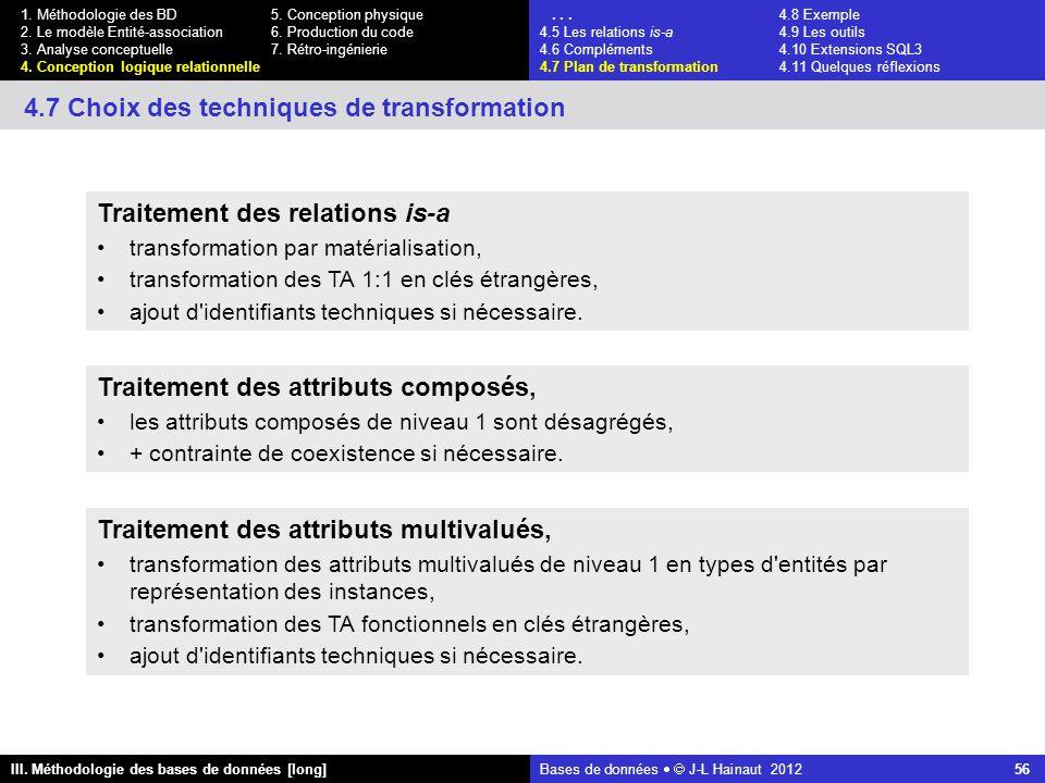 Bases de données   J-L Hainaut 2012 56 III. Méthodologie des bases de données [long] 1.
