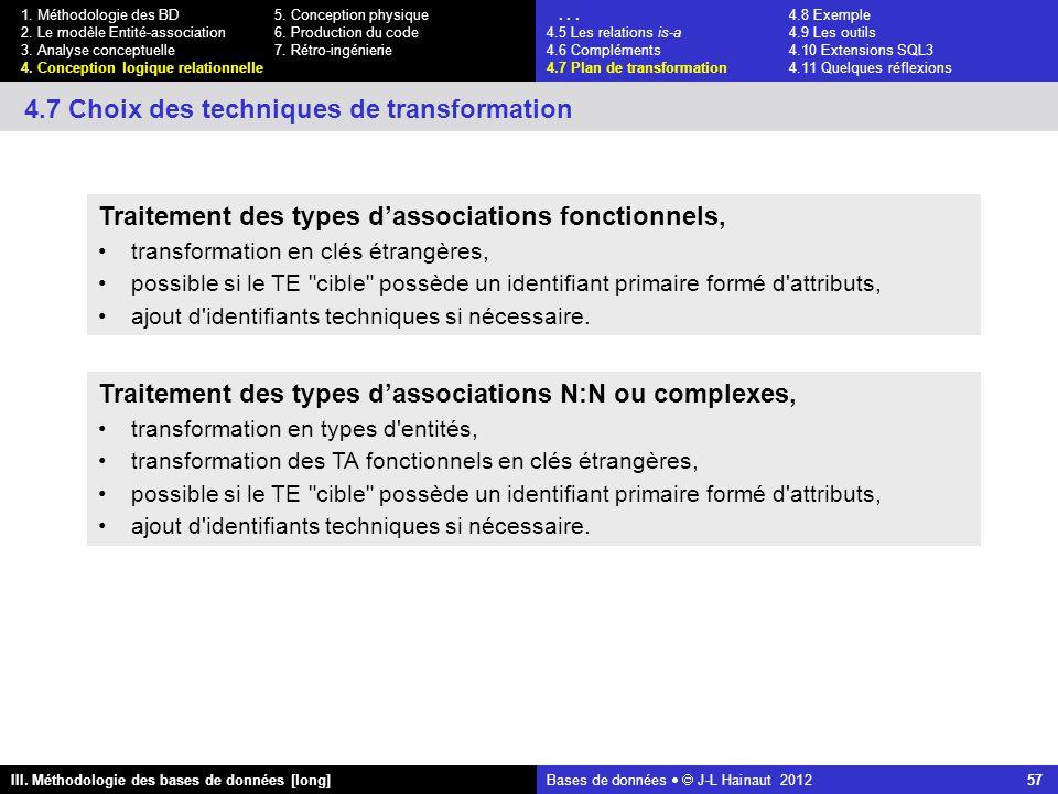 Bases de données   J-L Hainaut 2012 57 III. Méthodologie des bases de données [long] 1.
