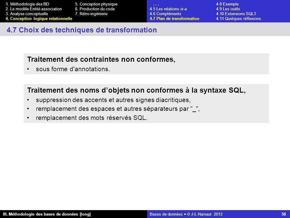 Bases de données   J-L Hainaut 2012 58 III. Méthodologie des bases de données [long] 1.