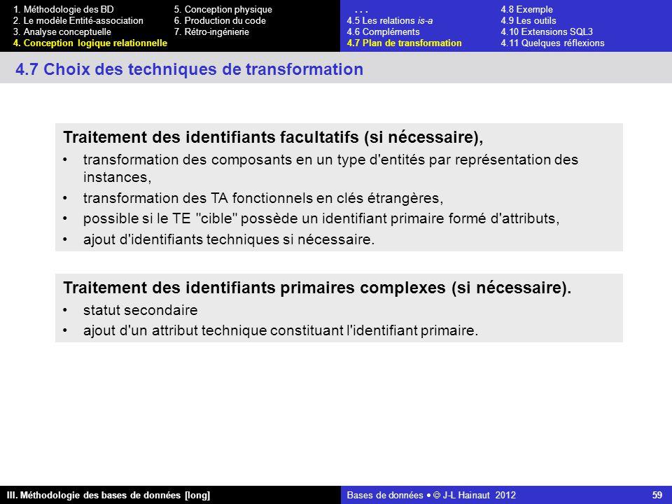 Bases de données   J-L Hainaut 2012 59 III. Méthodologie des bases de données [long] 1.