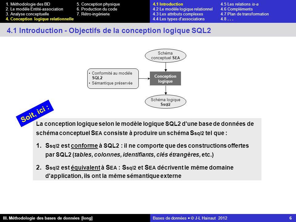 Bases de données   J-L Hainaut 2012 6 III. Méthodologie des bases de données [long] 1.
