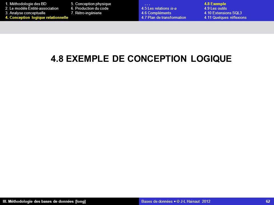 Bases de données   J-L Hainaut 2012 62 III. Méthodologie des bases de données [long] 1.