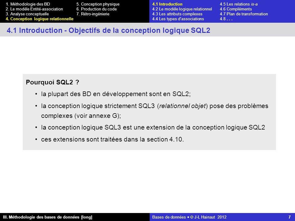 Bases de données   J-L Hainaut 2012 7 III. Méthodologie des bases de données [long] 1.